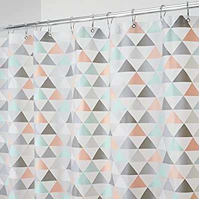 "mDesign Decorative Triangle Print - Waterproof, Mold/Mildew Resistant, Heavy Duty PEVA Shower Curtain Liner, for Bathroom Showers, Stalls and Bathtubs - 72"" x 72"" - Coral/Gray/Mint Green - WATERPROOF: No more slippery wet floors - This curtain is waterproof so that you can keep your bathroom floors free from splashes and sprays of water; Made to withstand damp, moisture rich bathroom and shower environments; Protect your decorative shower curtains or use alone as curtain and liner in one; This shower curtain is perfect for anyone wanting to add some fun and whimsy to their shower NON TOXIC & ECO FRIENDLY: Made from 100% PEVA, this non-toxic shower curtain is odor free - no chemical smell; The curtain is PVC and Chlorine free for a healthier bathroom environment for you, your kids and your entire family; Water and soap will glide right off and not collect in hems - keeping the shower liner clean for a safer shower and tub environment FUNCTIONAL & VERSATILE: The reinforced top hem combined with the grommets ensure that the curtain will not be easily torn or pulled out of shape; Use at home, apartment, condo, hotel, camper, RV, dorm room, school shower, athletic club, gym - shower-curtains, bathroom-linens, bathroom - 51V67IhtLLL. SS400  -"