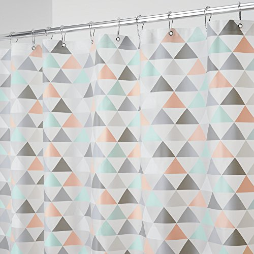 mDesign Triangles Mold and Mildew-Resistant PEVA 5 Gauge Shower Curtain - Triangles, 72 x 72 inches, Coral/Mint … (Shower Curtains Color Neutral)