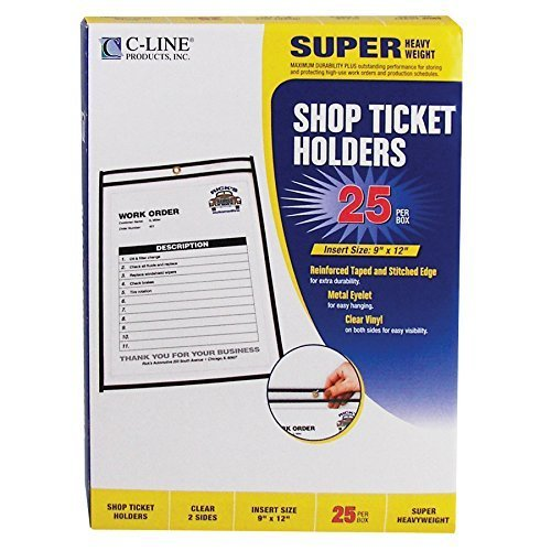 C-Line Stitched Shop Ticket Holders, Both Sides Clear, 9 x 12 Inches, 25 per Box (46912), Model: 46912, Office/School Supply Store