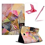 Wallet Folio Case for Samsung Galaxy Tab A 8.0 T350,Bookstyle Flip Pu Leather Case for Samsung Galaxy Tab A 8.0 T350,Herzzer Stylish Classic [Flamingo Marble Print] Stand Magnetic Smart Leather Case with Soft Inner for Samsung Galaxy Tab A 8.0 T350