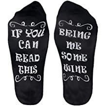 "Funny Gifts for Women/Men/Mom/Dad/Wife/Her/Him Novelty Cotton Wine Socks""Bring Me Some Wine""Stocking Stuffers for Christmas,Birthday,Wine Lover,White Elephant Father/Mother's Day"
