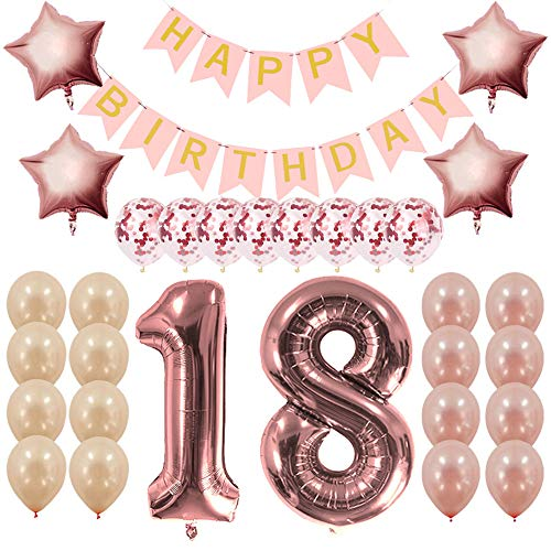 Rose Gold 18th Birthday Decorations Party Supplies Gifts for Girls Women - Create Unique Events with Happy Birthday Banner, 18 Number and Confetti Balloons