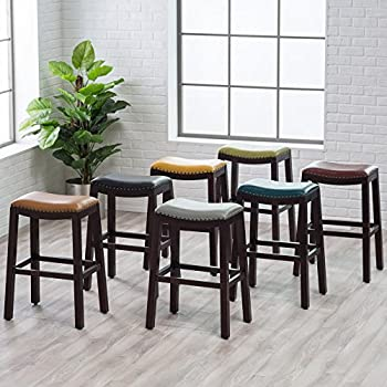 Amazon Com Julien Leather Bar Stool Blue 24 Quot Counter