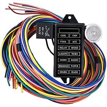 amazon com wisamic 10 circuit basic wiring harness fuse box streetlabwork  parts new 14 circuit fuse