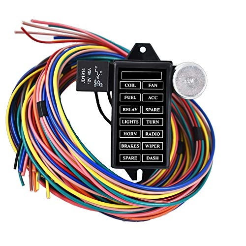 labwork-parts New 14 Circuit Fuse Universal Wire Harness Muscle Car Hot Rod Street Rat XL
