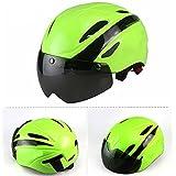 Ezyoutdoor Motorcycle Helmets Leather Unisex Helmet Vintage Harley Half Helmets 55-58 cm/21.6-23.6 inch with UV Goggles Bike Helmets (Green)