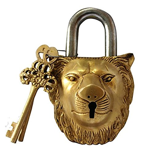 Brass Padlock - Lock with Keys - Working Functional - Brass Made - Type : (Lion - Brass Finish)