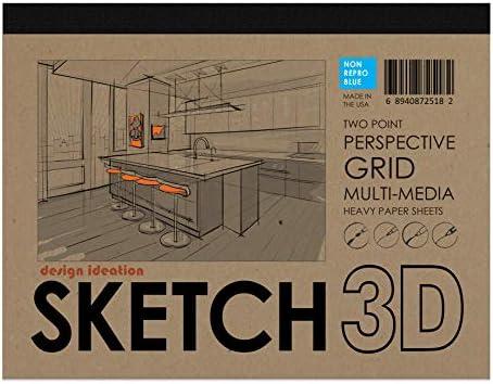 Design Ideation スケッチ3Dパースペクティブグリッドペーパーパッド。 マルチメディアペーパーパッド。鉛筆、インク