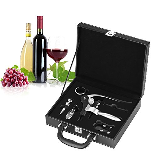 Wine Opener Set, 6 Pieces Stainless Steel Wine Bottle Opener Rabbit Opener with Foil Cutter, Wine Stopper, Drip Protector Ring, Pour Spout and Backup Spiral Corkscrew, Gift - Wine Set Spiral
