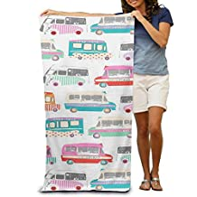 Ice Cream Bus Women's Beach Towel, Pool Towel ,Sport Towel,Thick, Soft, Quick Dry, Lightweight, Absorbent