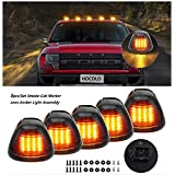 5x HOCOLO Black Smoked Cab Marker Lens w/ 9 LED Amber Roof Running Lights Clearance Top Marker Lamps For 1999-2016 Ford F-250 F-350 F-450 F-550 Super Duty 2017 2018 E-350 E-450 Super Duty Pickup Truck (Triangle Smoked Cab Marker Assembly+9 Amber Light, Without T10 (Assembly itself Owned LED Chip))