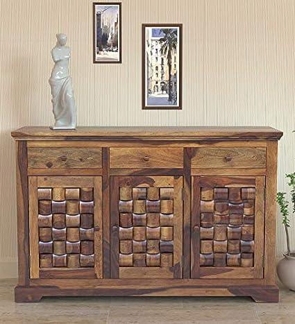 MH Decoart Sheesham Wood Side Board Cabinet with 3 Drawer