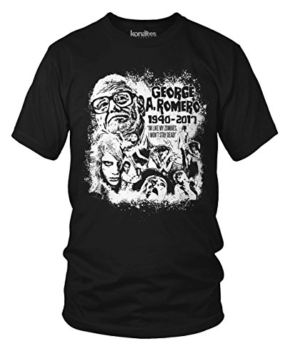 George A. Romero, Night of the Living Dead, Zombie, Memorial T-Shirt- (Black) XL