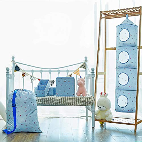 Storage for Toys, Caroeas Hanging Storage Set of 5 Hanging Cubby Organizer Safe for Baby Supplies Cute Laundry Bag for Kids Flexible Kids Storage Organizer for Toys,Gloves,Socks,Scarf in Nursery(Blue)