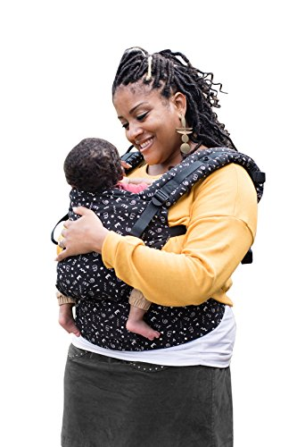 Baby Tula Free-to-Grow Baby Carrier, Adjustable Newborn to Toddler Carrier, Ergonomic and Multiple Positions for 7 – 45 pounds – Celebrate (Black with White Confetti Shapes)