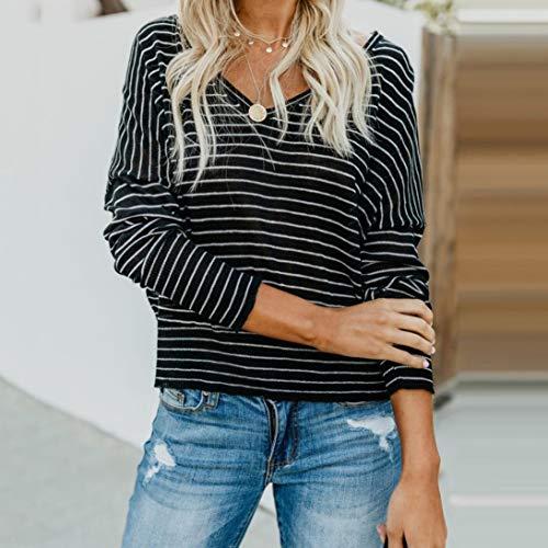 Shirt Longue Col Tops Taille V Blouse Plage T De Sexy Mode Chic Grande Rayures Noir Manche Chemisier Femme Casual vZvwqrgAB