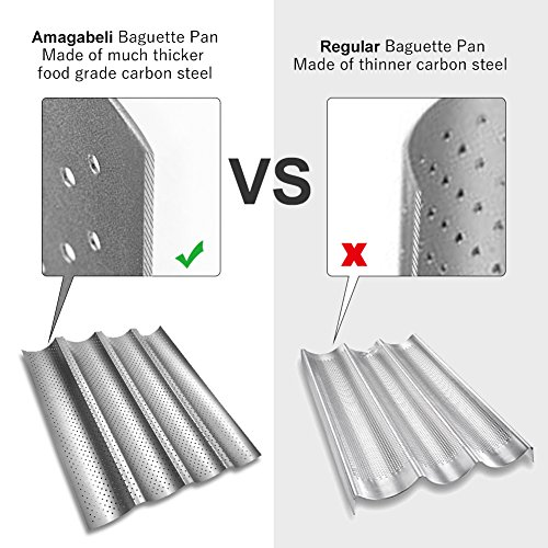 Amagabeli Nonstick Perforated Baguette Pan 15'' x 13'' for French Bread Baking 4 Wave Loaves Loaf Bake Mold Toast Cooking Bakers Molding 4 Gutter Oven Toaster Pan Cloche Waves Silver Steel Tray Italian by AMAGABELI GARDEN & HOME (Image #2)