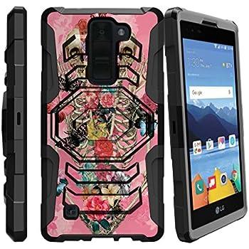 LG K8V Holster Case, LG K8 V Case, VS500 Case [Armor Reloaded] Holster Combo + Rugged Impact Resistant + Kickstand by Miniturtle - Pink Flowers Skeleton