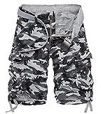 AOYOG Men's Camo Cargo Shorts Cotton (40, Grey Camo #956)