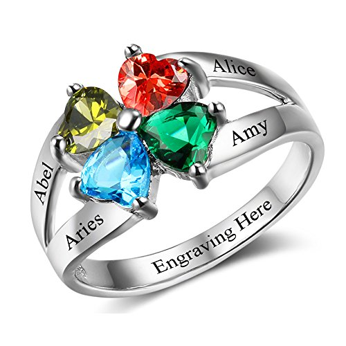 Personalized Nana Ring with 4 Birthstones