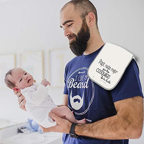 MIMUSELINA Camiseta Barba y Babita Regalo para el Dia del Padre. Secababitas para el bebé Papi, Nada Mejor Que Las cosquillas de tu Barba (L)