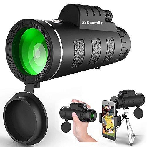 SeKunmRy Monocular Telescope, 2019 Newest High Power 12x50 HD Waterproof Fog Proof Monocular with Smartphone Holder & Tripod,Perfect for Bird Watching,Watching Wildlife.Formerly Polaris Optics