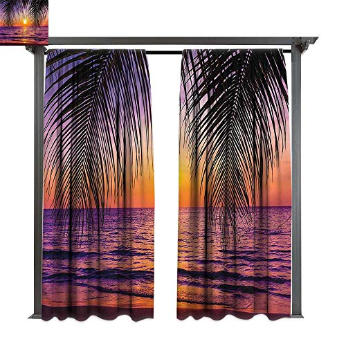cobeDecor Thermal Insulated Drapes Tropical Sunset Twilight Sundown for Lawn & Garden, Water & Wind Proof W120 xL72