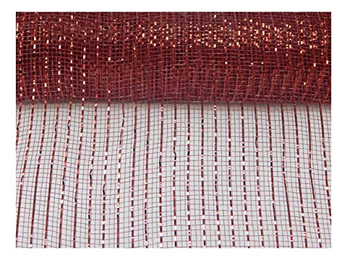 Floral Supply Online - 10 inch x 30 feet Metallic Deco Poly Mesh Ribbon (Burgundy, 10