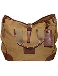Polo Ralph Lauren Proprieter Canvas Leather Tote Carryall Bag Khaki Beige  Brown