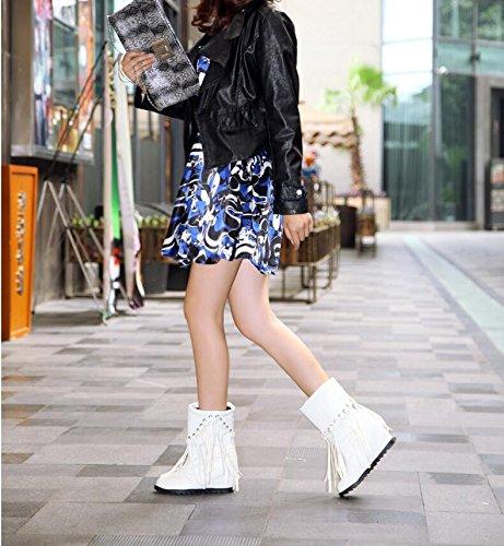 scarpe e boot tacco e tavola salire autunno elegante ladies QXIn in inverno testa Cilindretto entro ZQ corto il tonda White di versatile e acqua alta gZqa0wU