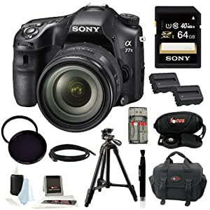 Sony A77II ILCA77M2Q ILCA-77M2Q Digital SLR Camera with 16-50mm F2.8 Lens + Sony 64GB SDXC Memory Card + NP-FM500H Replacement Battery + Sony VCT-R100 Tripod + Deluxe Accessory Kit