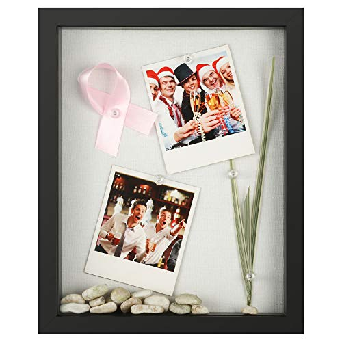 Photo Display Case - ONE WALL 8x10 Shadow Box Frame Display Case with Linen Back, Shadow Box Picture Frame for Photos, Tickets, Cards Display