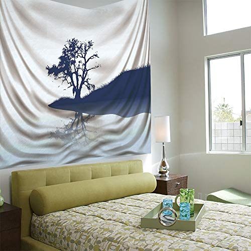AngelSept Wall Tapestry Decorative Art Prints can be Hung on The Bedside of Dormitory,Nature,Silhouette of Lonely Tree by Lake with Mirror Effects Melancholy Illustration,Indigo Baby Blue