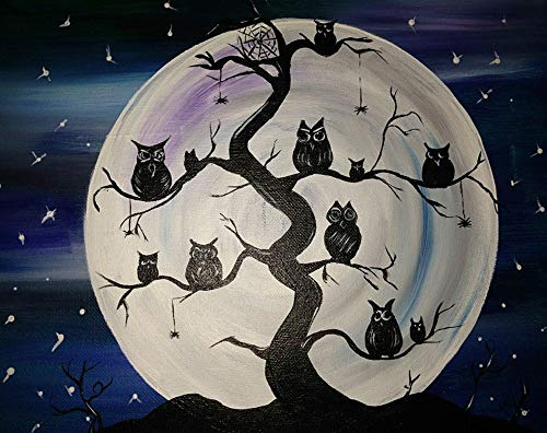 Wowdecor 5D Crystal Diamond Painting with Diamonds Kits, Owl Tree Halloween Moon Night, Full Drill DIY Diamond Dotz Embroidery Crafts Graphy -