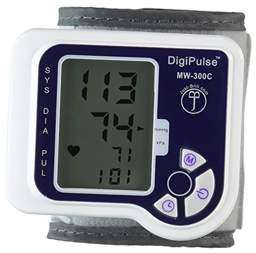 Blood Pressure Cuff Wrist Monitor Automatic Digital Sphygmomanometer - BP Machine Measures Pulse, Diastolic and Systolic - High Accurate Meter Best Reading High Normal and Low DigiPulse by Just-Brill