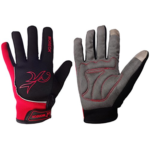 Long Finger Bike Gloves Gel Pads TB Full Finger Bicycle gloves Touchscreen Biking Gloves for Man Women Shock-absorbing Outdoor Sports Glove Windproof Winter Thermal Cycling Gloves(red-M)
