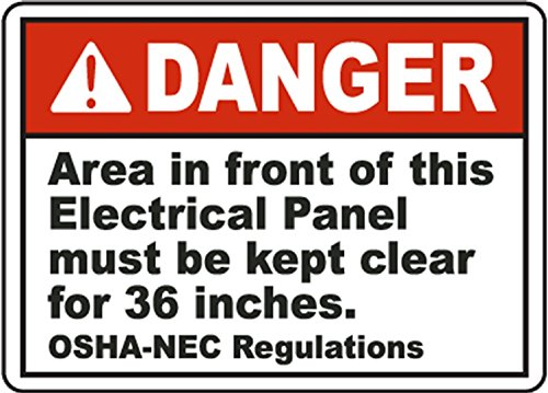 Label: Danger Area in Front of this Electrical Panel Must be Kept Clear for 36