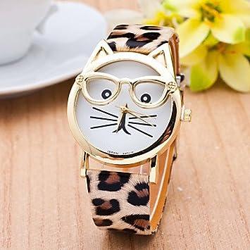 relojes de mujer, Reloj gato con mujeres gafas de moda de cuarzo relojes de mujer