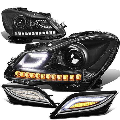 For Mercedes Benz C-Class W204 3D Black Crystal Halo Projector Headlight Amber Corner + LED Side Signal Light