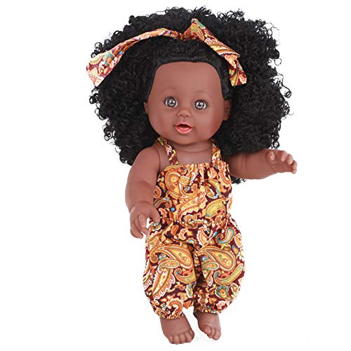 Anytec 12 inch Reborn Newborn Baby Dolls Look Real Soft Silicone Lifelike Black Pearl African American Full Body Reborn Doll with Baby Clothes for Toddler Boys Girls Birthday Gift (Yellow)