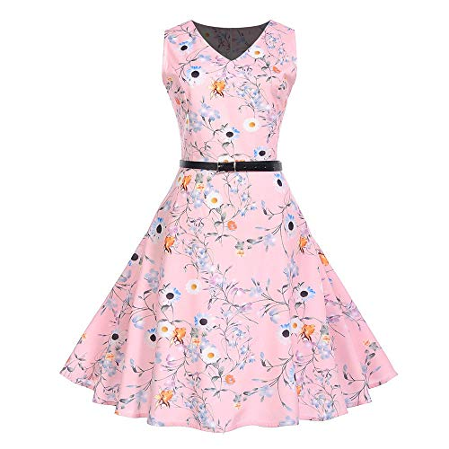 Hot Sale Women Evening Party Dress DEATU Ladies Vintage Elegance Printing Sleeveless V Neck Prom Swing Dress with Belt(Pink A,XXL) ()