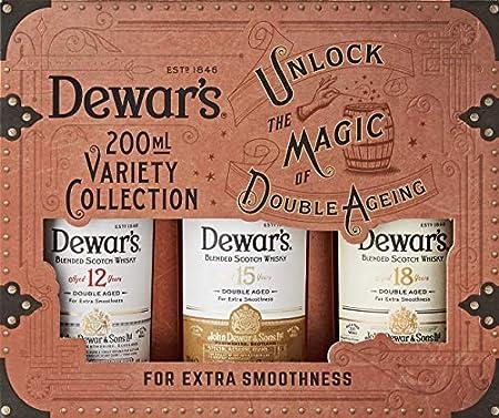 Dewar's Whisky Blended pack de 3 botellas de 200 ml de Dewar's 12, 15 y 18 años – 600 ml