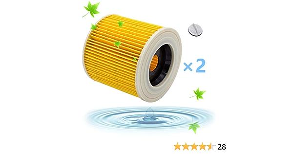Filtros Lavables para Aspiradora Kärcher WD3 WD2 WD3.200 WD3300, Filtro Kärcher a2604 a2204 a2054 a2004 a2554 a2654 Filtro Húmedo y Seco, Amarillo: Amazon.es: Hogar
