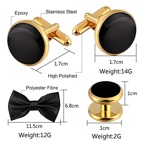 Aienid Cufflinks Black for Men Cufflinks and Studs Set Gold Stainless Steel Accessories Shirt Business by Aienid (Image #4)