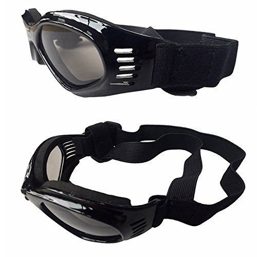 CAZZO Cool Pet Dog Motorcycles Bike Helmet/Sunglasses for Sun Rain Protection,Funny Halloween Cosplay Costume and Christmas Gifts for Cats Dogs (Black Sunglasses)