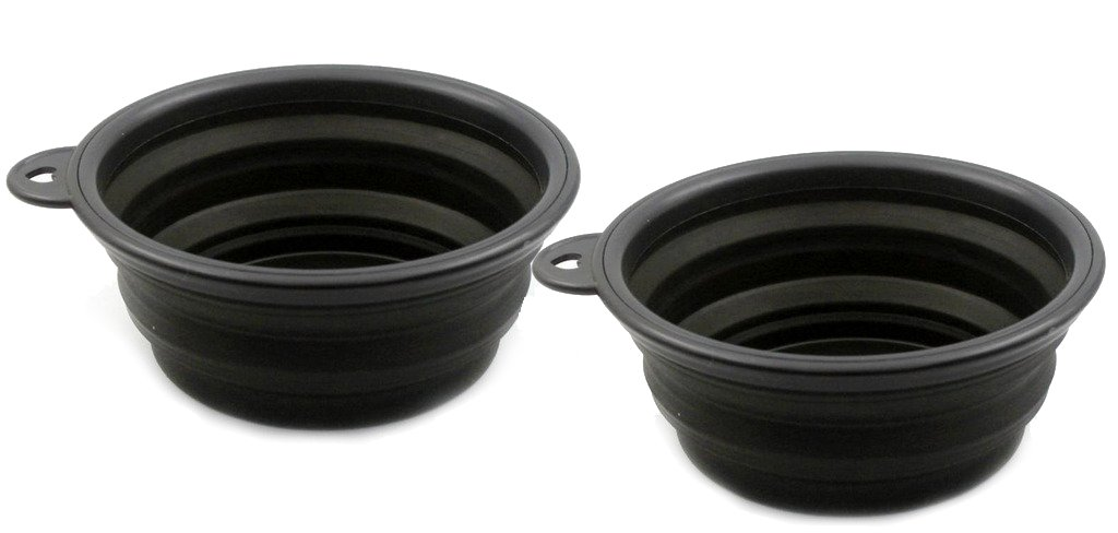 Pet Leso 2pcs Pop-up Pet Bowl Travel Bowl Water Feeder Bowl Portable Bowl For Dogs Cats -Black