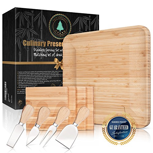 100% Bamboo Cheese Board with Slide-Out Drawer & 4-Piece Stainless Cutlery Set. Includes FREE set of matching coasters. Perfect House Warming Gift & Best Choice For Every Kitchen. Large 13x13