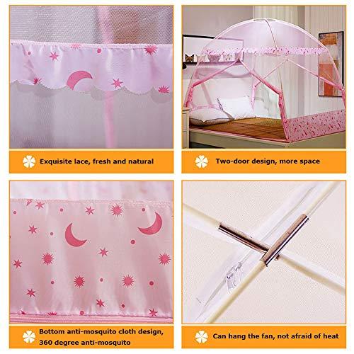 Mosquito Net Bed Canopy Yurt Bed Type Two-Door Zipper Net Tent Bracket Heightening Anti-Mosquito Indoor/Outdoor Decorative Height 150CM,Pink,120200CM by LINLIN MOSQUITO NET (Image #1)