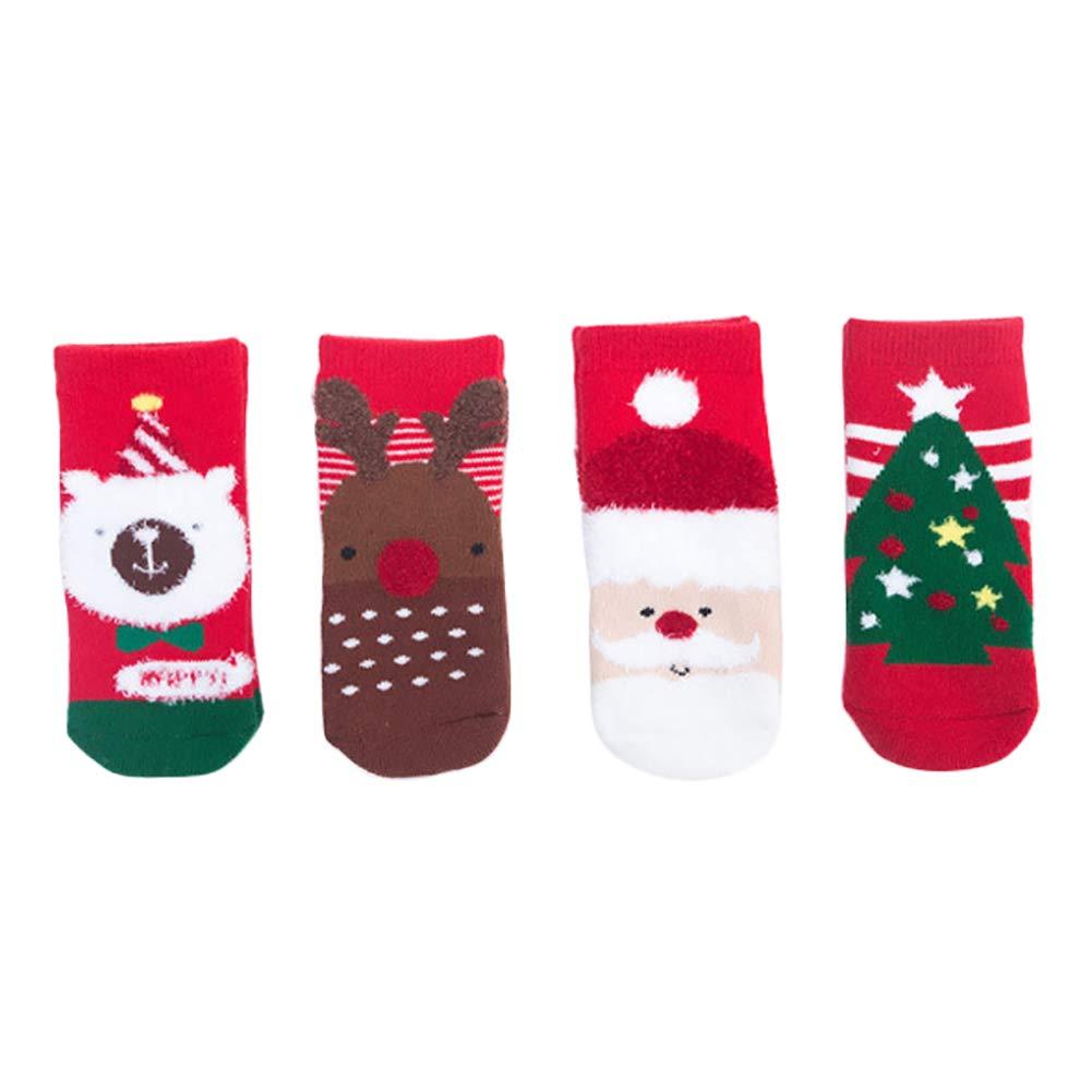 Kanggest. 4pares Calcetines De Navidad Bebe Calcetines De Navidad De Dibujos Animados Niñ o Calcetí N De Terciopelo De Coral Bordado De Invierno Calcetines Deportivos Largos(3~5 añ os)