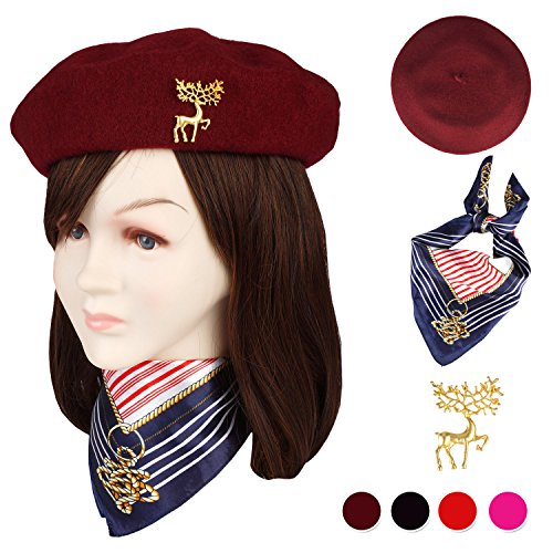 Jeicy Wool Beret Hat Solid Color French Beret With Skily Scarf and Brooch (Wine Red)